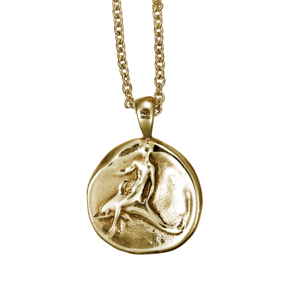 dolphin coin pendant shown in 14k yellow gold