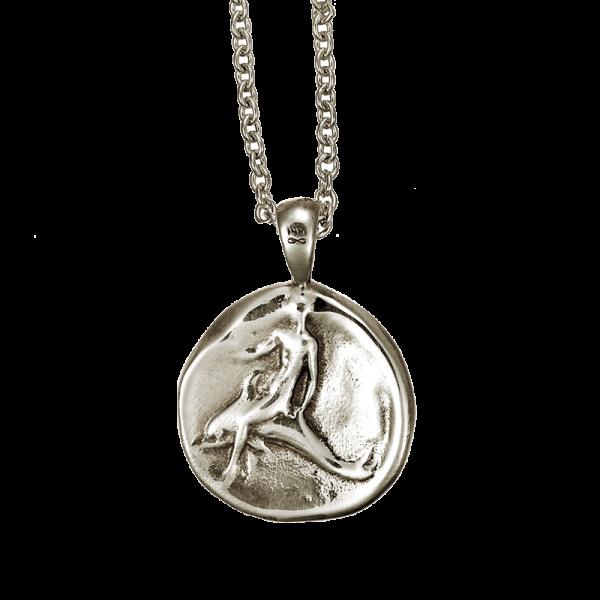 DOLPHIN COIN PENDANT WHITE GOLD