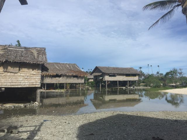 Fanalei Village, Solomon Islands underwater during high tide. Climate change is causing entire villages to move inland. Photo: DolphinProject.com