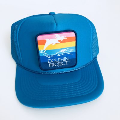 Dolphin Project Turquoise Foam Trucker Hat with Rainbow Patch