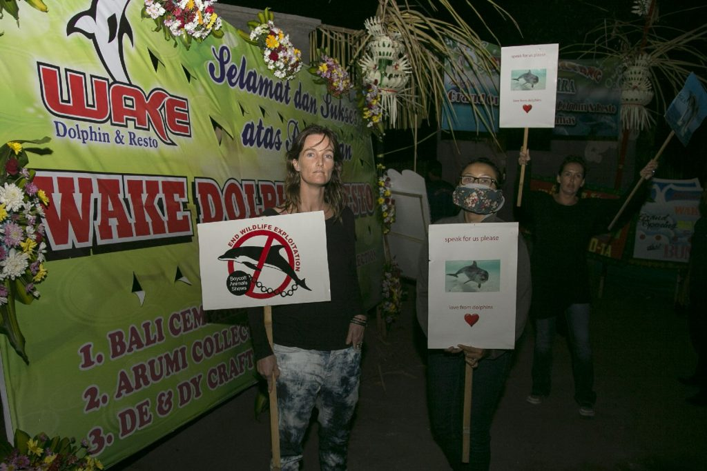 Dolphin Project activists protest on opening day, Bali, Indonesia.