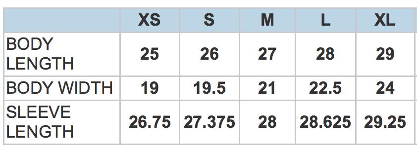5068BT Size Chart