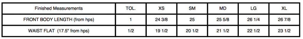73635 Size Chart