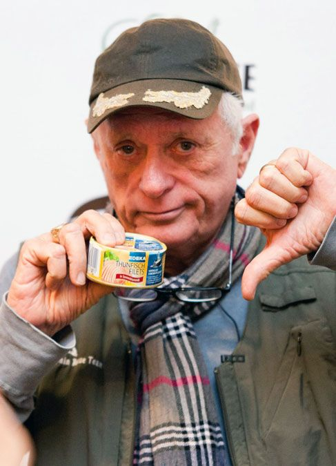 Ric gives thumbs-down to EDEKA tuna, which is dolphin-deadly tuna from Colombia caught by chasing, killing and maiming dolphins