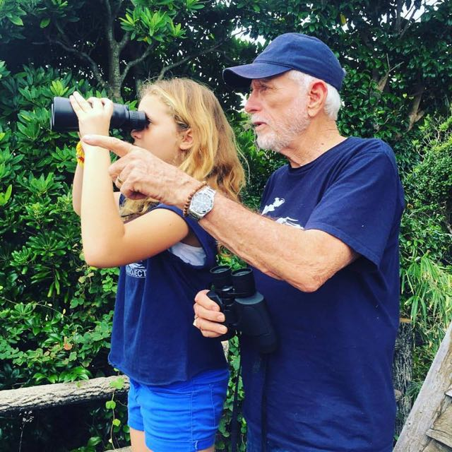 Ric O'Barry & a Dolphin Project Mini-Monitor scan for dolphin hunting boats in Taiji, Japan. Photo: DolphinProject.com
