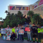 One of the growing monthly protests outside the Mirage Hotel in Las Vegas.