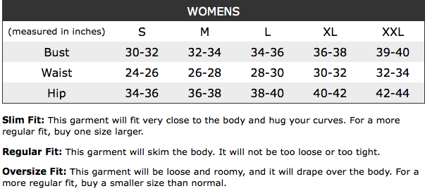 Anvil Womens Sizing