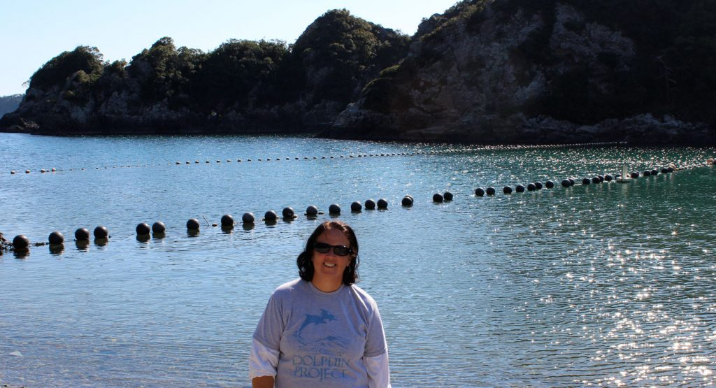 Cynthia Fernandez at the Cove in Taiji, Japan. Photo: DolphinProject.com