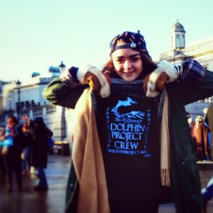 Actress Maisie Williams representing Dolphin Project in London