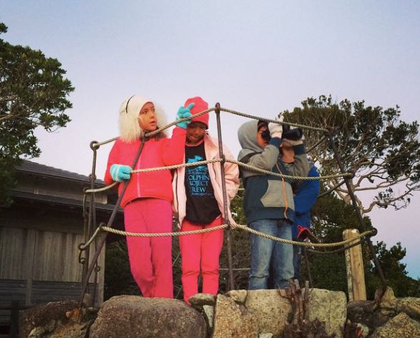 Youth Cove Monitors keep an eye on the dolphin hunting boats in Taiji, Japan. Photo: DolphinProject.net