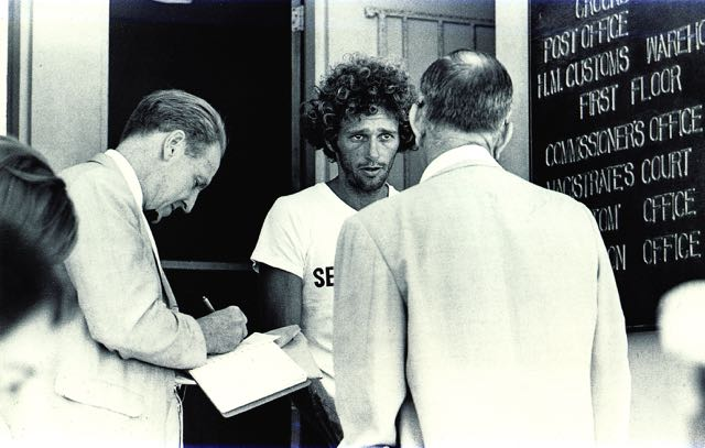 Richard OBarry being released from the Bimini Jail 1970