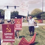 SeaWorld's shadow Communist protester