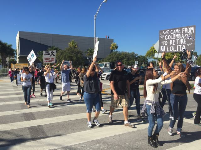 Protesters at the Miracle March for Lolita