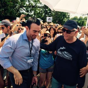 John Hargove and Ric O'Barry both attended the Antibes protest/Dolphin Project