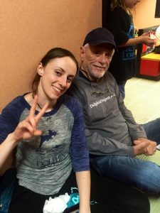 Maria Nangle with Ric in Taiji. Image: Dolphin Project