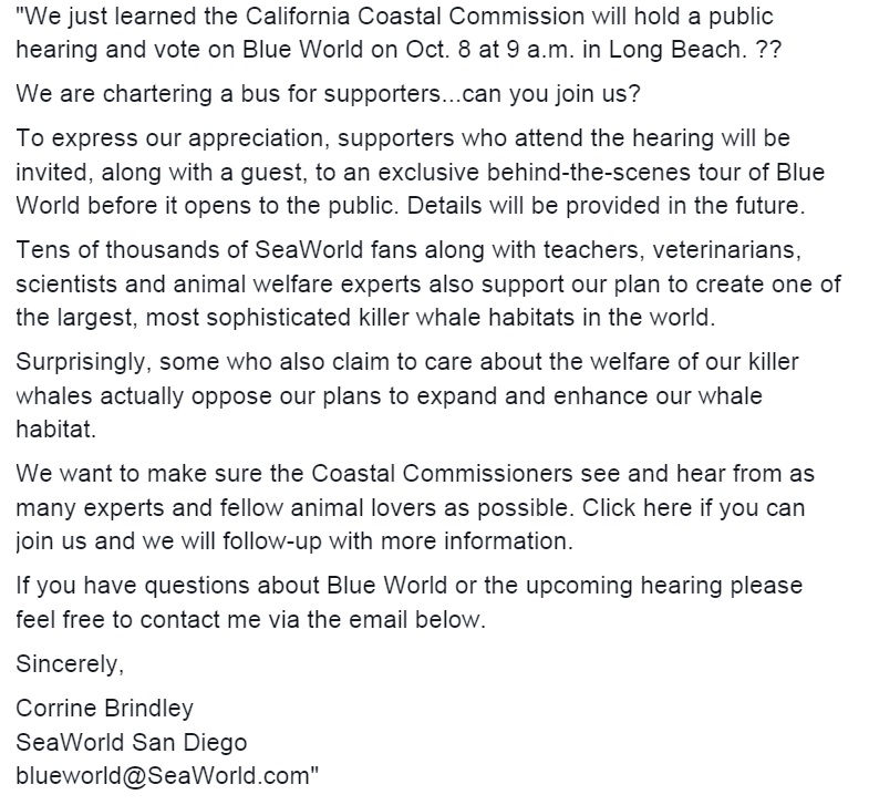 SeaWorld Email to Supporters