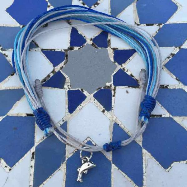 String bracelet with dolphin charm