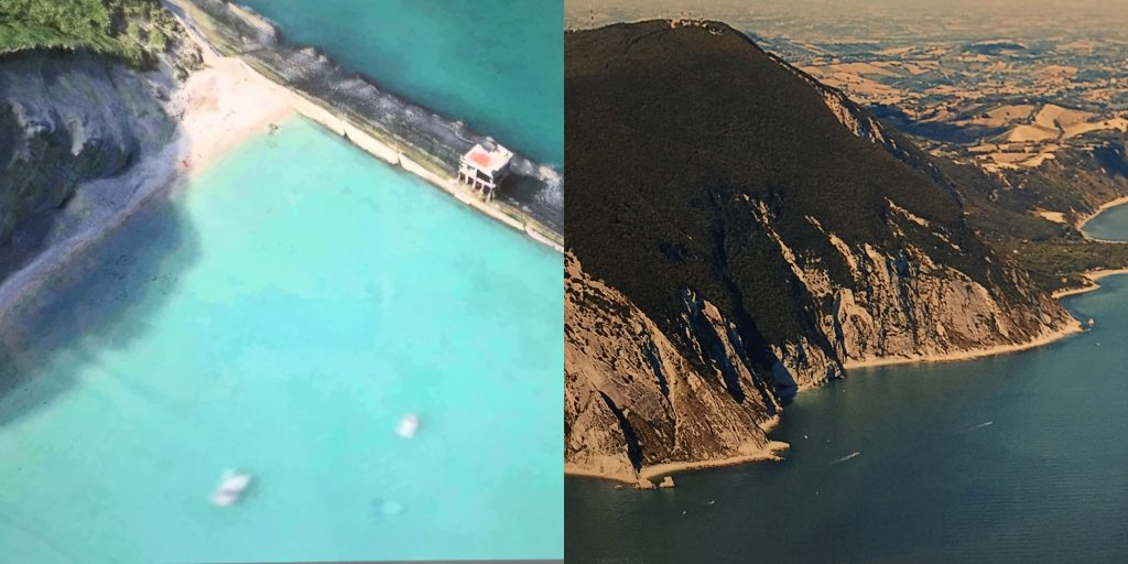 Left: An overhead view of care center. Right: The Le Marche region of Italy incorporates Sibillini National Park and several Regional Parks in the Province of Ancona. Dolphin Project.