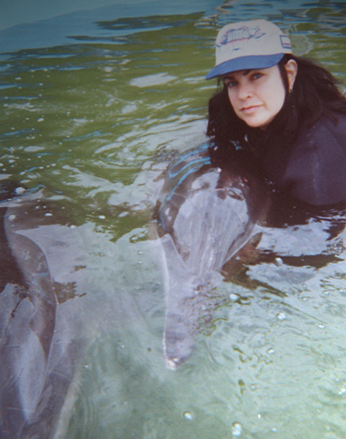 Cara Sands rehabilitating rough-toothed dolphin 366, March, 2005, Florida