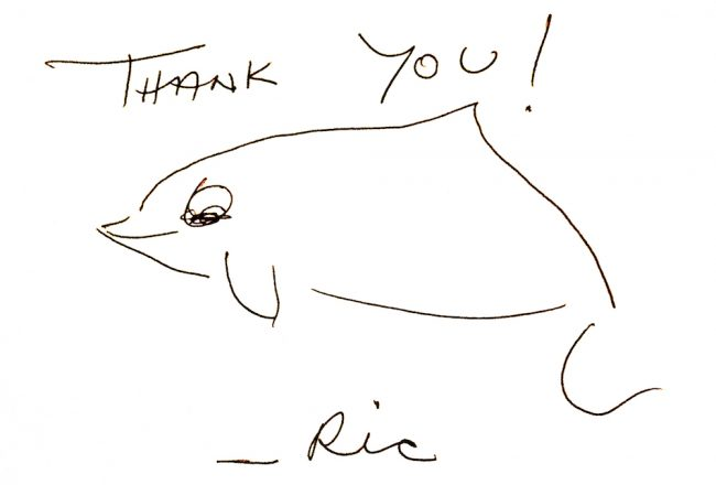 Ric O'Barry handwritten thank you