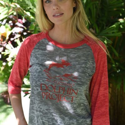 WOMEN'S RED W: RED BURNOUT BASEBALL TEE