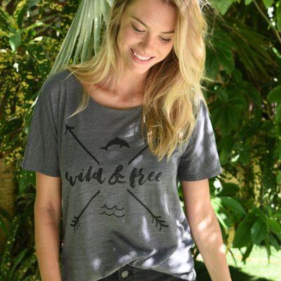 WOMEN'S WILD & FREE GREY SLOUCHY TEE